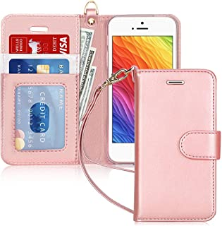 FYY Case for iPhone SE/iPhone 5S/iPhone 5, [Kickstand Feature] Luxury PU Leather Wallet Case Flip Folio Cover with [Card S...