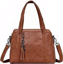 Three Bag Genuine Leather Handbags Large Capacity Retro Vintage Big Hand Bag Handle Bags Solid Tote