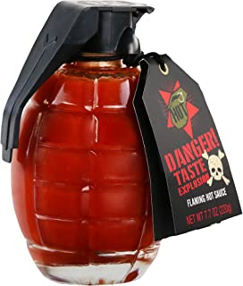 Thoughtfully Gifts, Flaming Hot Sauce Gift Set, 7.7 Ounces, Grenade Jar Filled with Spicy Hot Sauce