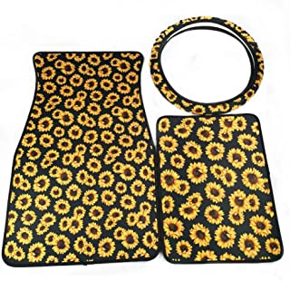 AJLTPA Neoprene Automotive Steering Wheel Cover with Neoprene Sunflower Car Front Rear Floor Foot Mats Fit for Most Cars