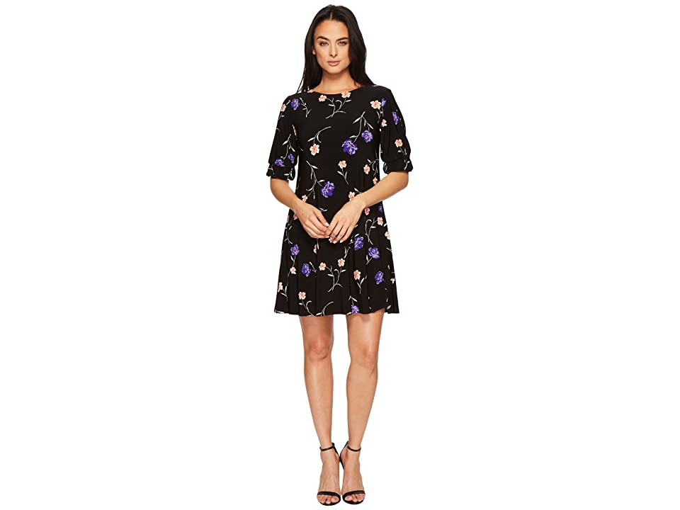 LAUREN Ralph Lauren Abiela Calendar Floral Matte Jersey Dress (Black/Blue/Multi) Women