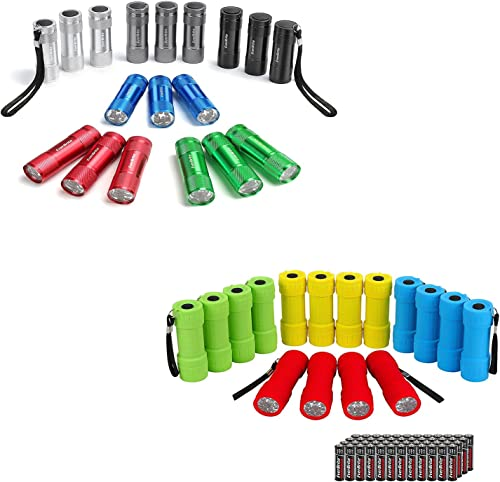 wholesale EverBrite 34-pack Mini Flashlight high quality Set, 102 AAA Batteries Included, Portable Colorful Flashlights for online EDC, Party Favors, Night Reading, Camping, Power Outage, Emergency online sale
