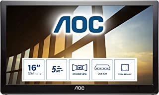 AOC I1659FWUX 15.6 Inch Portable Monitor, IPS LED, Smart Cover/Stand, USB 3.0 (1920 x 1080 FHD /5 ms/USB 3.0 Connectivity)...