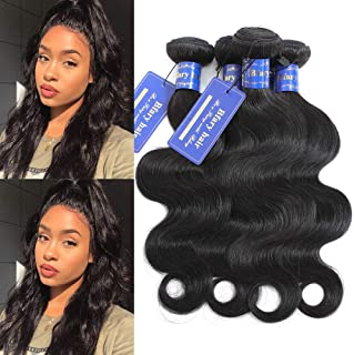 Bfary hair Peruvian Virgin Body Wave Human Hair 4 Bundles, 70Gram/Piece, Totally 280Gram(14'' 16'' 18'' 20'',Natural Color), 8A 100% Unprocessed Body Wave Hair Extension Weft for Black Women