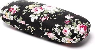 Ezeso Etuis a lunettes Etui Lunettes Rigide Slim Retro Vintage Floral Flower Pattern Lunettes de Protection Femme