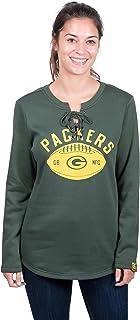 Icer Brands NFL Green Bay Packers Women's Fleece Sweatshirt Lace Long Sleeve Shirt, Large, Green