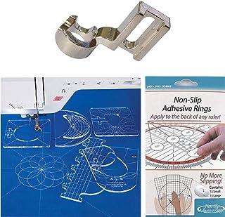YICBOR Non-Slip Ruler Grips, 30/Pkg + Ruler Template Sampler Set #RL-06 + Low Shank Ruler Free Motion Darning Foot