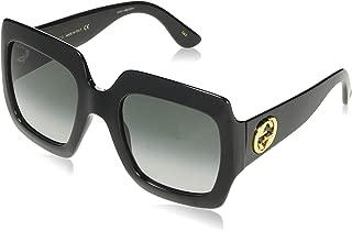 Gucci Women's GG0097S 004 Sunglasses, Yellow/Brown, 56