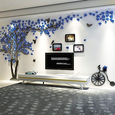 Alicemall 3D Pegatina de Árbol Vinilos Hojas Negros Marcos de Foto Adhesivo Decorativo de Pared para Dormitorio Hogar Oficina Azul