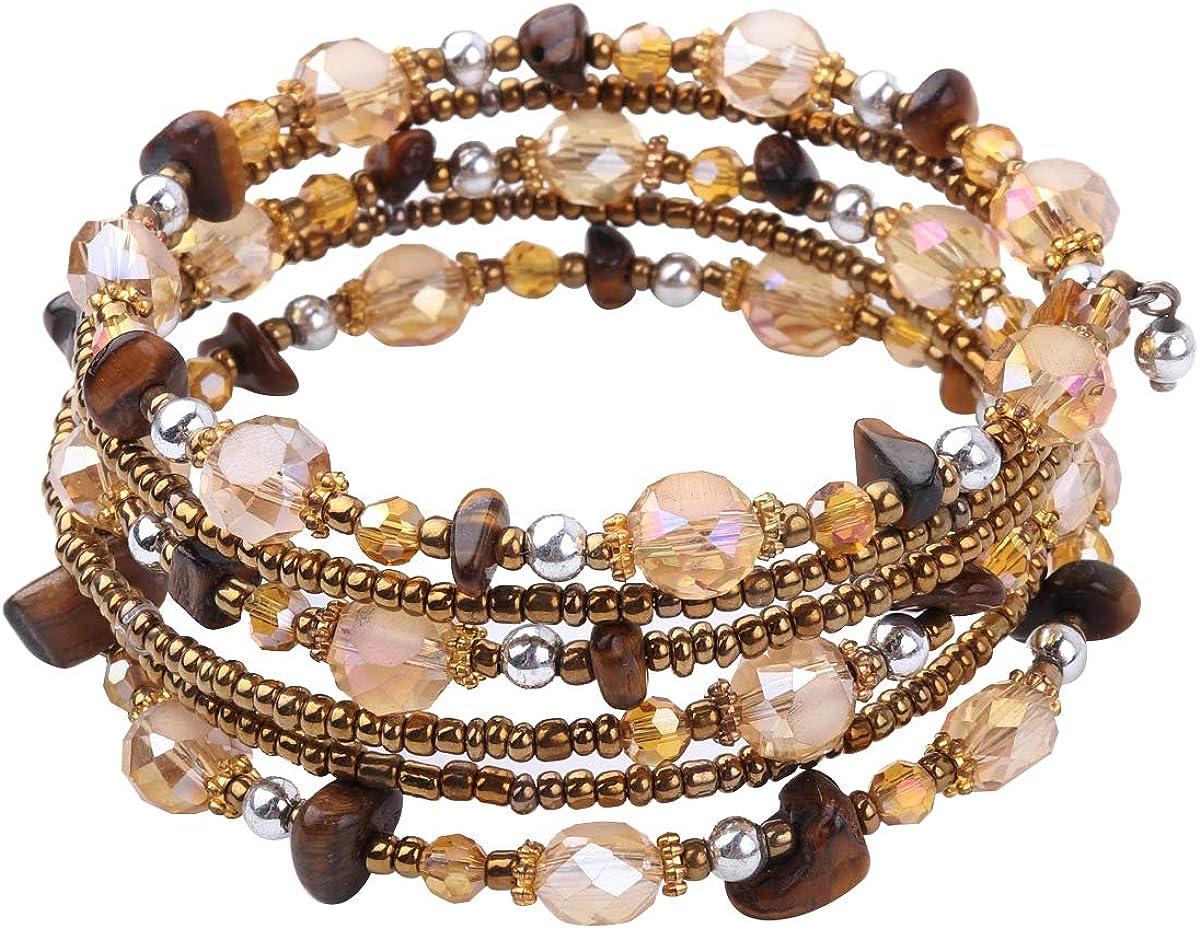 Boho Bracelet Amethyst Layered Bracelets Tiger Eyes Bohemian Bracelet Vitality Layered Stretch Bracelets for Women Girls Jewelry