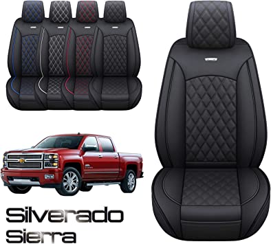 Aierxuan Chevy Silverado GMC Sierra 2 Front Seat Covers Pickup Custom Fit 2007-2021 1500 2500HD 3500HD Crew Double Extended Cab Waterproof Leather Seat Protectors(2 PCS Front, Black): image