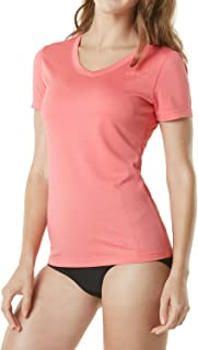 TSLA Women's UPF 50+ Swimshirt Short Sleeve Rashguard Top Regular-Fit/Loose-Fit, Beachwear Swimwear Top