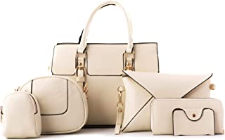 PARADOX - Set of 6 Pieces Matte Finish Hand Bag, Satchel Purse, Clutch and Wallet (White)