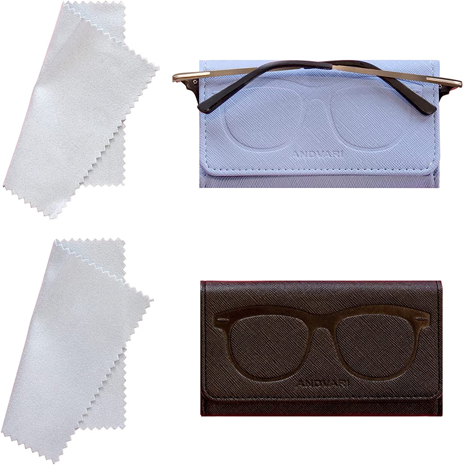 ANDVARI 2 Pack Leather Glasses Case for Women Soft Eyeglass Pouch Holder Spectacles Box Case with Microfiber Cleaning Cloth