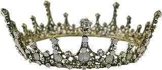 Lefox Bridal VINTAGE Antique Bronze ORNATE OPAL CRYSTAL FULL ROUND PRINCESS QUEEN CROWN TIARA(#55)