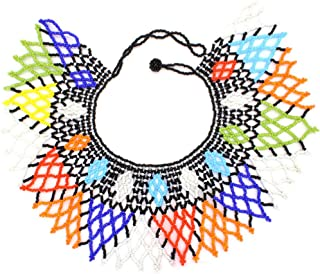 African Zulu Beaded Necklace Tribal Choker Colorful Acrylic Indian Ethnic Bib Collar …