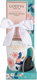 Thoughtfully Gifts, Godiva Chocolate Truffle Coffee Travel Gift Set, Includes Godiva Travel Mug with Lid and Godiva Chocolate Truffle Coffee