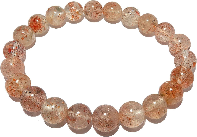 SatinCrystals Sunstone Bracelet 7mm Shimmering Roun unisex Boutique Tampa Mall Red