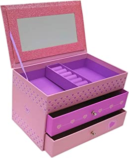 Jewelry Box for Girls - Pink and Purple Sparkles with Hearts and Pink and Purple Trim (Pink Sparkle)