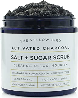 Natural Activated Charcoal Body & Face Scrub. Exfoliating Dead Sea Salt & Sugar Scrub. Deep Cleansing Pore Minimizer. Anti...