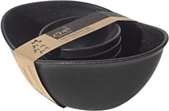 EVO Sustainable Goods Five Piece Serving Bowl Set, Black