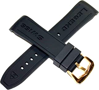 Swiss Legend 24mm Black Silicone Rubber Strap Band, Gold Stainless Buckle fits 45mm Monte Carlo Watch