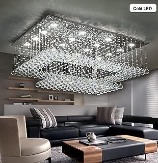 Modern Contemporary Crystal Chandelier for Living Room Rectangular Flush Mount Ceiling Lighting Fixture, H14