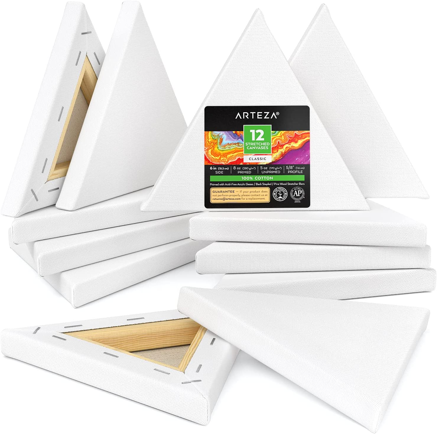 Boston Mall Ranking TOP10 Arteza Stretched Canvas Pack of 12 Blank 6 Triangle Ca inches