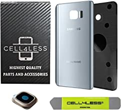 CELL4LESS Replacement Rear Back Glass Back Cover w/Custom Removal Tool & Pre-Installed Adhesive Compatible with Samsung Galaxy Note 5 - Fits N920 Models - 2 Logo (Sapphire Black) (Silver)