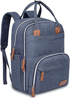 Diaper Bag Backpack, BabbleRoo Neutral Travel Back Pack for Mom & Dad, Large Capacity Waterproof Baby Nappy Changing Bags for Boys & Girls, Multifunction & Stylish, Denim Blue