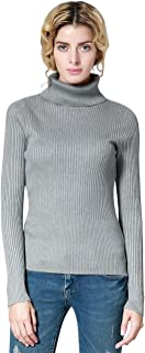 Women's Turtleneck Ribbed Long Sleeve Sweater Pullover Tops