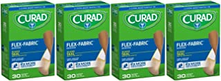 Curad Flex-Fabric, 3/4 Inches X 3 Inches bandages, 30 count (Pack of 4)