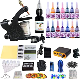 ANDNICE Tattoo Compleet Starter Tattoo Kit 1 Pro Machine Guns 14 Inkten Voeding Voetpedaal Naalden Grips Tips