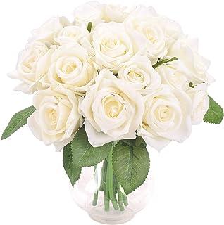 Famibay Fleur Artificielle Blanche et Rose De Soie Bouquet de Fleurs pour La Décoration De Mariage Maison Décoration (1-Bl...