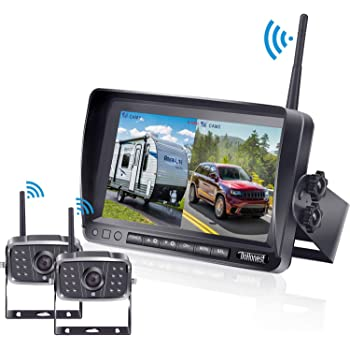 7 inch Car LCD Split Screen for Bus//Trailer//RV//Truck//Camper 12-24V//36V Digital Wireless Vehicle Backup Camera System,Dual HD 720P IR Night Vision Front//Side//Rear View Reversing Camera