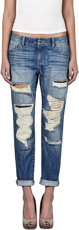 Hidden Women's Ripped Boyfriend Jeans Slim bluee