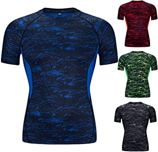 HY Sports T-Shirt Men's Short Sleeve Summer Running Tops Skinny Sweat Breathable Shirt