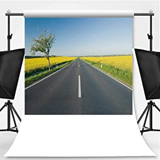 Country Road Between Blooming canola Fields Photography Background,095742 for Video Photography,Pictorial Cloth:6x10ft