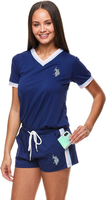 U.S Polo Assn Womens Pajama Set Sleepwear 2 Piece Set Short Sleeve Shirt and Lounge Pajama Shorts