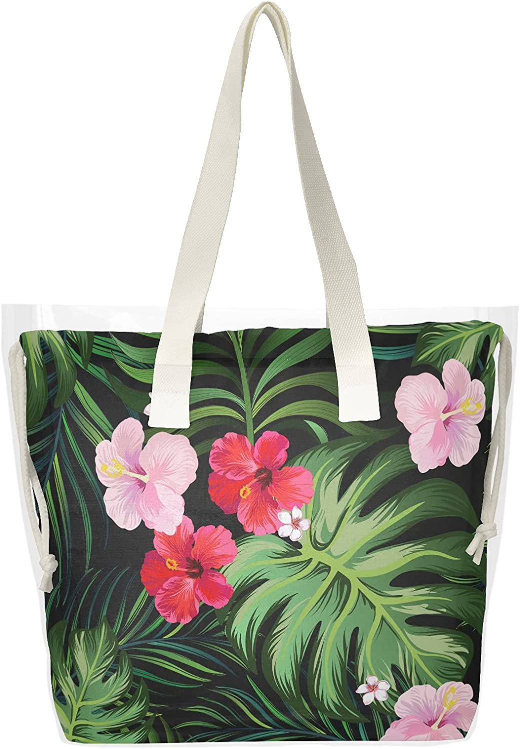 Tropical Palm Leaves Hibiscus Women Han Department store Max 54% OFF Bags Clear Tote Shoulder