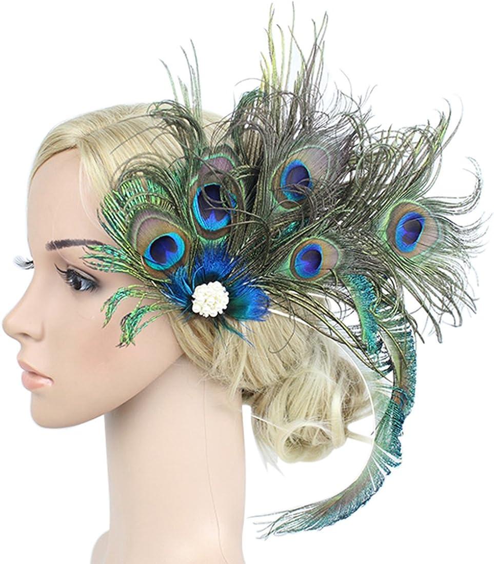 Z&X Peacock Feather Fascinator Hair Clip Headband 1920s Costume Flapper Headpiece