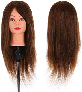 "24"" Mannequin Head Hairdressing Training Head Cosmetology Doll Head With Table Clamp Stand Hairdresser Practice Tool Dark ..."