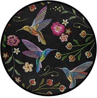 ZZAEO Beautiful Hummingbirds Tropical Exotic Flower Round Area Rug Soft Comfort Floor Mat Carpet with Non Skid Backing for Ho