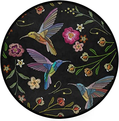 ZZAEO Beautiful Hummingbirds Tropical Exotic Flower Round Area Rug Soft Comfort Floor Mat Carpet with Non Skid Backing for Home Bedroom Decor - 3 Feet Diameter (92 cm)