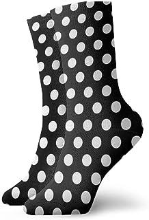 Popweek01 Polkadots calcetines negros y blancos al tobillo casual caminar deportes calcetines de trabajo para hombres y mujeres