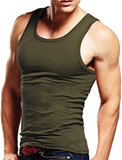 Men's Tank Top Cotton Tagless A-Shirt Sleeveless Casual Undershirt Sport Muscle Classic Tee