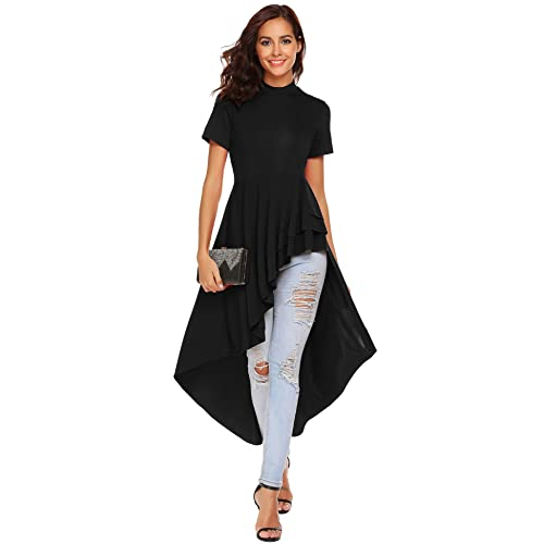 0f2188358c8 SimpleFun Womens Ruffle High Low Asymmetrical Short Sleeve Bodycon Tops  Blouse Shirt Dress