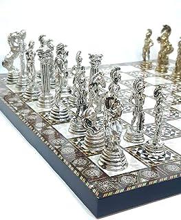 لعبة الشطرنج METAL LUXURY WOODEN CHESS BOARD GAME SET LARGE - Gold / Silver Chess Piece Staunton Ambassador - Travel Tourn...