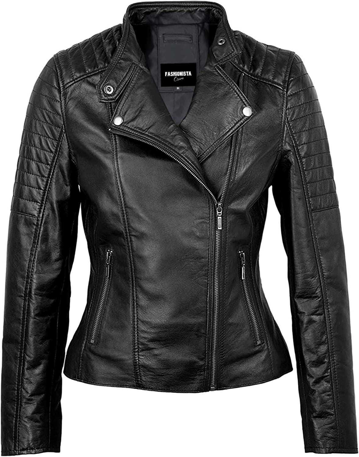 Fashionsta Craze Cora Black Quilted Real Leather Jacket Women