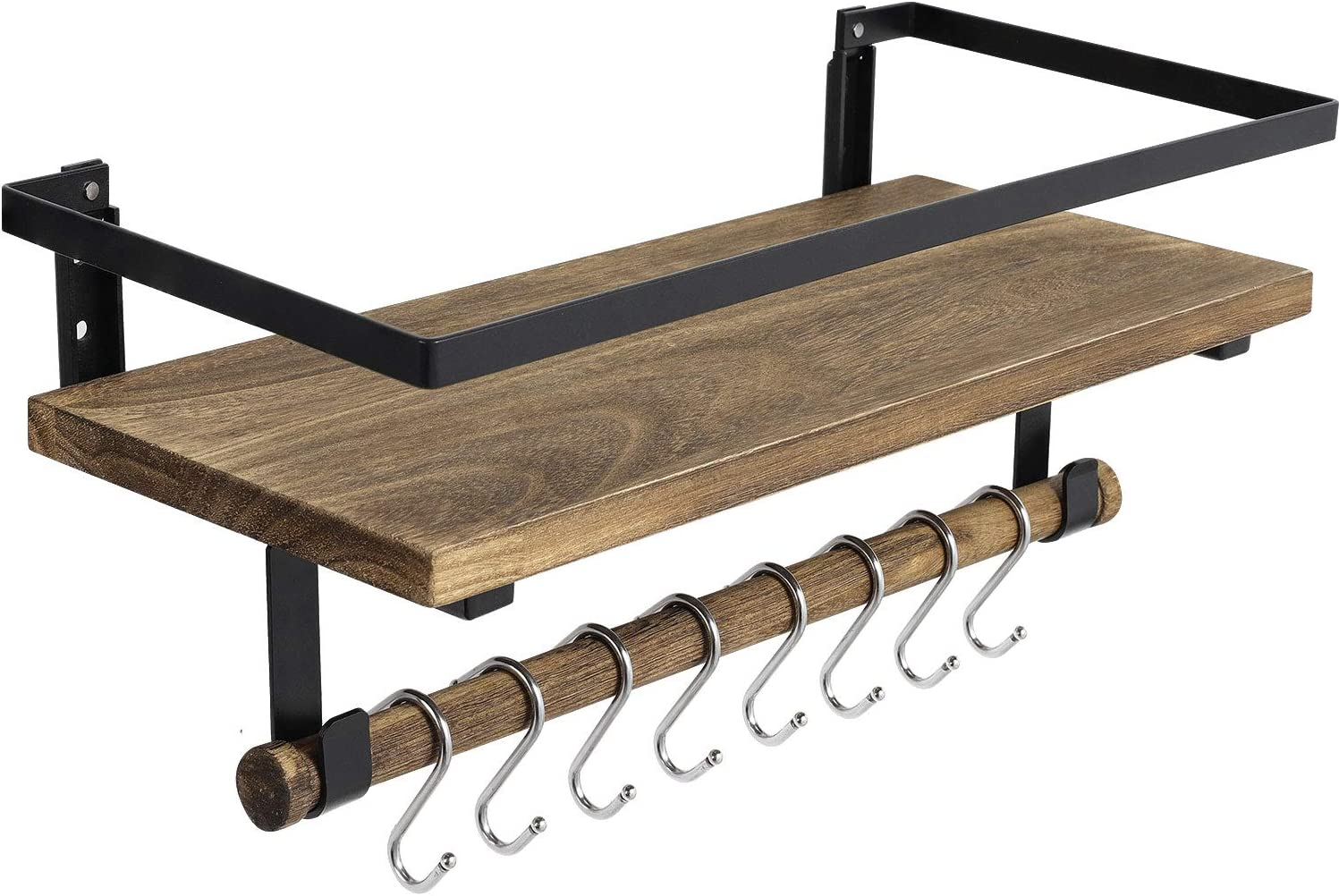 BAYKA Floating Shelf Wall Mounted, Rustic Wood Shelf for Bathroom Kitchen, Decor Storage Shelf with 8 Removable Hooks and Towel Bar